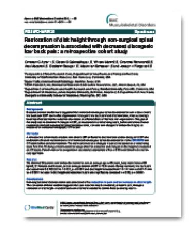 Clinical Studies - Decatur Spinal Disc Treatment | Decatur